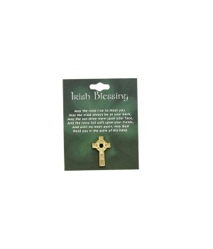 CELTIC CROSS W/GREEN STONE GOLD  CARDED INDIV BAG