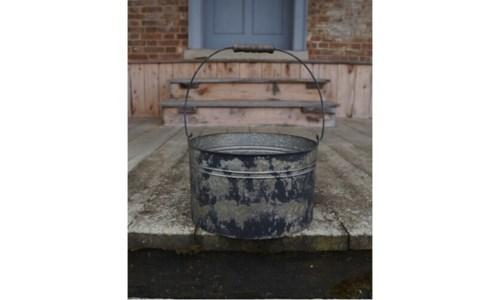 Black Distressed Metal Bucket