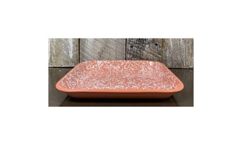 Coral Splatter Enamelware Tray