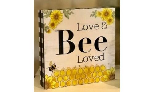 Bee Block Sign 3 in.x3 in.x1