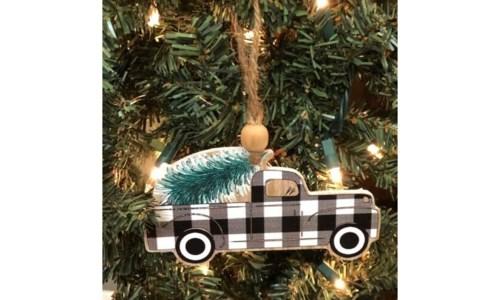 Black Checkered Truck Ornament