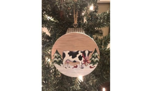 Christmas Cow Orn 5 in.