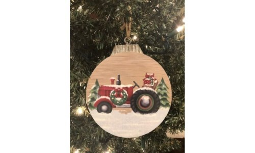 Christmas Tractor Orn