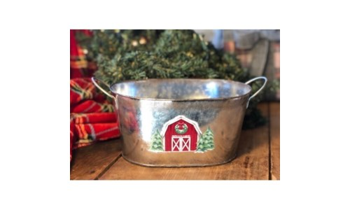 Christmas Barn Oval Container