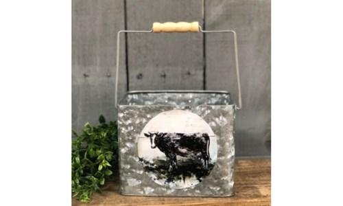 Cow Metal Bucket 5.5x7x5