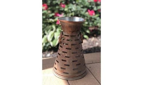 Copper Finish Metal Vase 11 in.x7