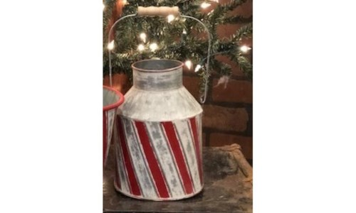 Candy Cane Milk Can 13 in. x 6.5 in.