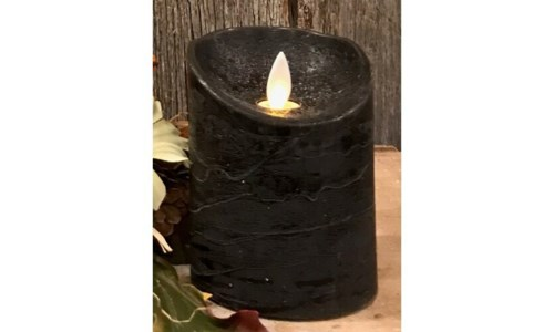 Black LED Pillar Candle 4 in.