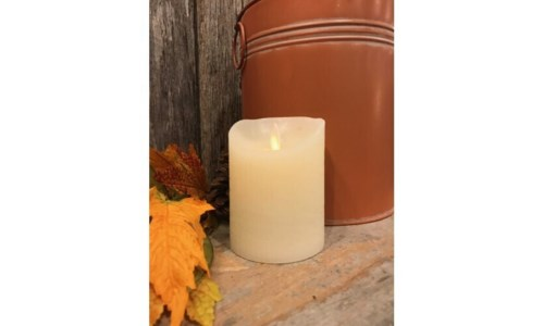 Cream LED Pillar Candle 4 in.