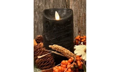 Black LED Pillar Candle 6 in.