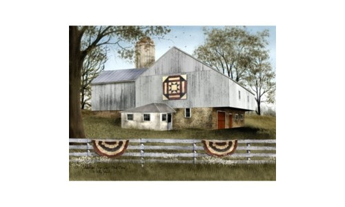 Am Star Quilt Block Barn 12 x 16 in.