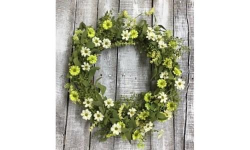 Green Daisy Wreath 20 in.