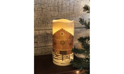 Christmas Barn LED Candle 6 in.