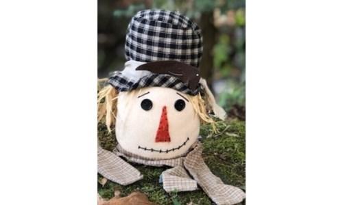 Bl Plaid Hat Scarecrow Head Sm