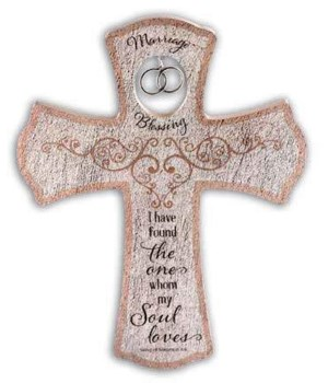 MARRIAGE BLESSING WALL CROSS W/SILV DBL RINGS & HANGR BOXED