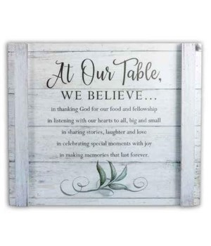 AT OUR TABLE WALL PLAQUE W/ HANGER BOXED, 14 in.   x 12 in.