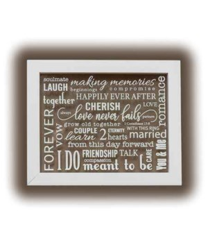 WEDDING WORDS FLOATER GLASS PLAQUE W/HANGER BOXED