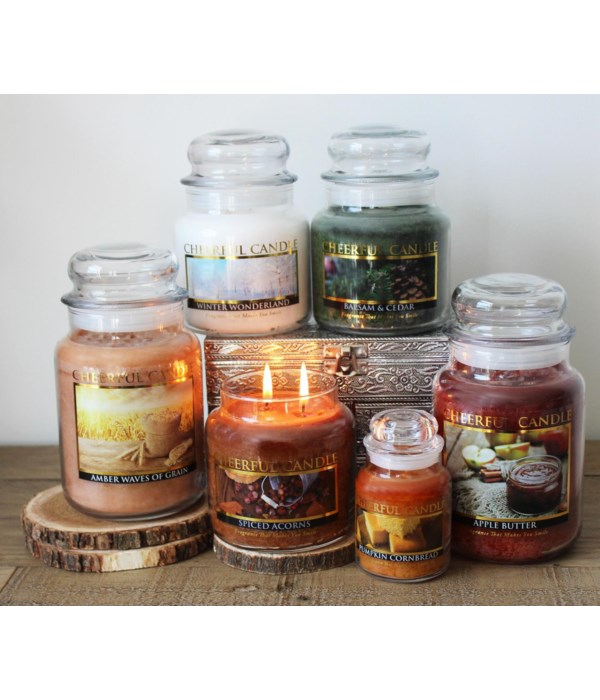 BOOKING FOR SEPT PRE PACK 6oz Cheerful Candles - 18 per Case - Min of 2 per style. Mix & Match.