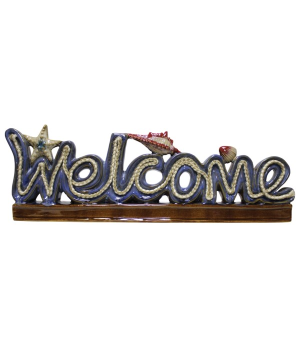 Welcome Sign With Nautical Rope