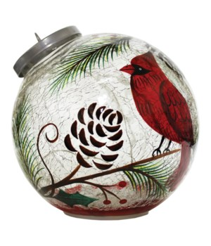 Cardinal & Pinecone Ornament with LED String Lights