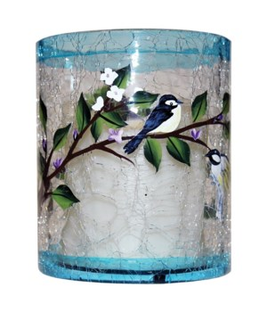 Small Crackle Bird Pillar with LED Light