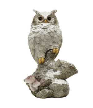Owl On Stump with Solar Powered LED Lights
