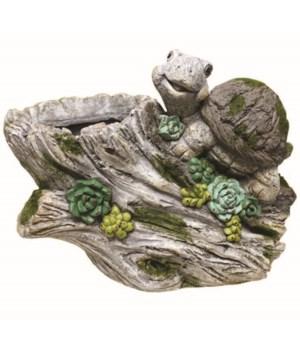 Decorative Planter-Turtle On Stump