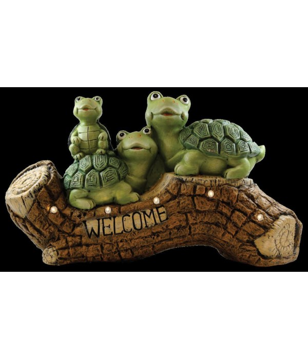 Turtles On A Log with Solar Powered LED Lights