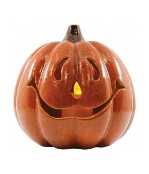 Friendly Jack O Lantern with LED Candle