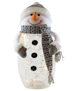 Crackle Glass Snowman with Plush Knit Hat & LED String Lights