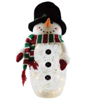 Crackle Glass Snowman with Plush Top Hat & LED String Lights