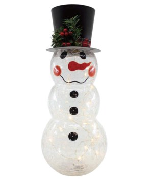 Crackle Glass Snowman with Metal Top Hat & LED String Lights