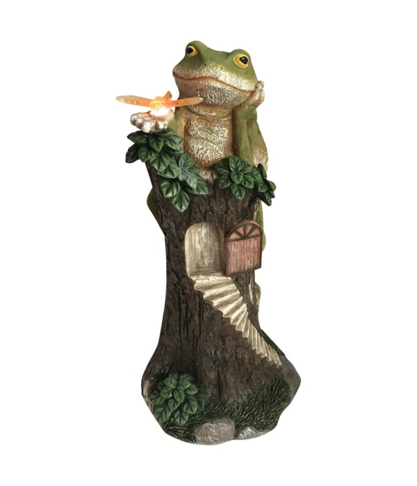 Frog On A Log with Solar Powered LED Lights