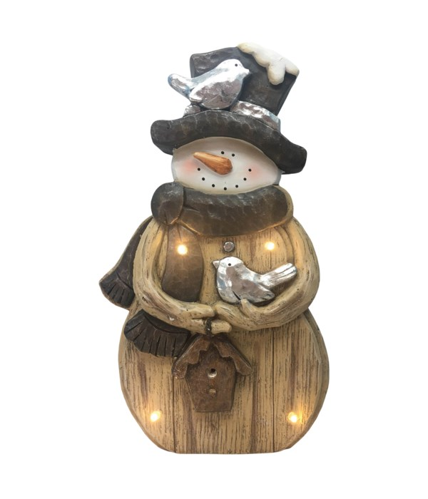 Rustic Snowman & Birds with LED Lights