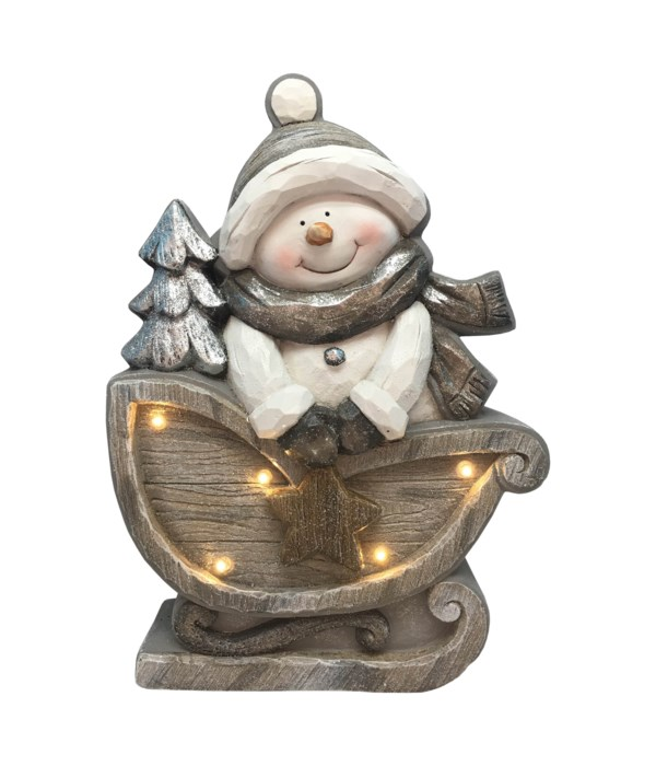 Snowman In Sleigh with LED Lights