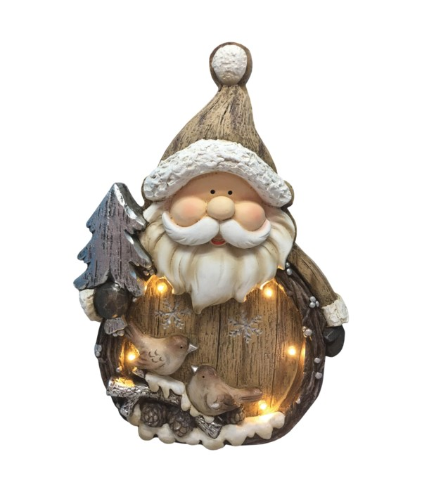 Rustic Santa And Tree with LED Lights
