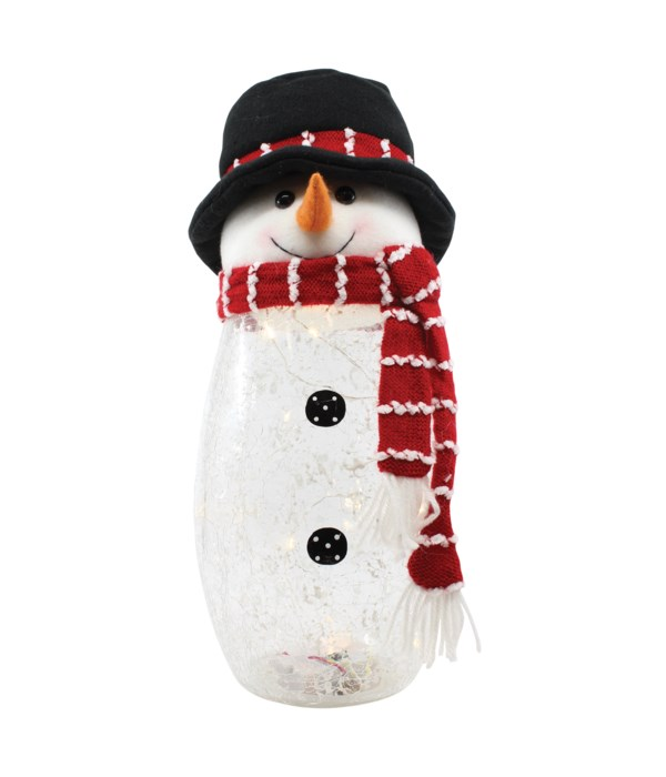 Crackle Glass Snowman with Plush Top Hat with LED String Lights