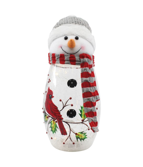 Cardinal Snowman Plush With Lights