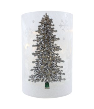 Silver Tree Pillar with LED String Lights