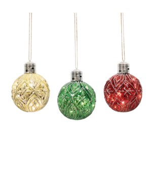 Set of 6 Classic Christmas Ornament Set with LED String Lights