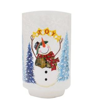 Joyful Snowman Pillar with LED String Lights