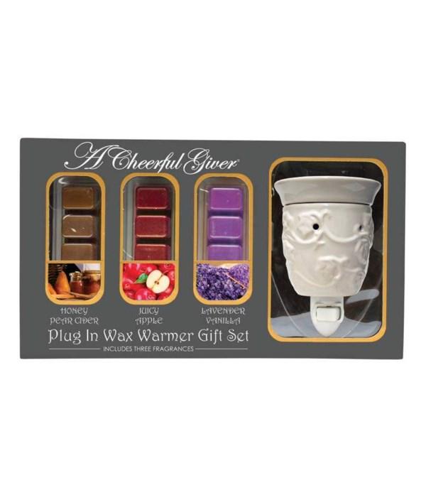 White Ivy Plug In Wax Warmer Gift Set