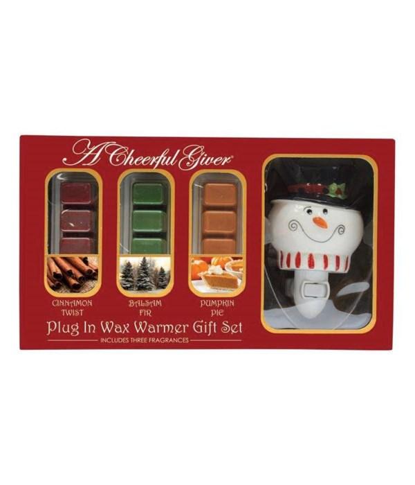 Snowman Plug In Wax Warmer & Melts Gift Set