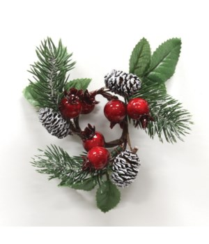Frosted Pine Crabapple Mini Candle Ring