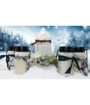 PRE PACK Frosty Snowman Candles 30oz Case Qty 12 Minimum of 2 per fragrance. Burn time 150hr