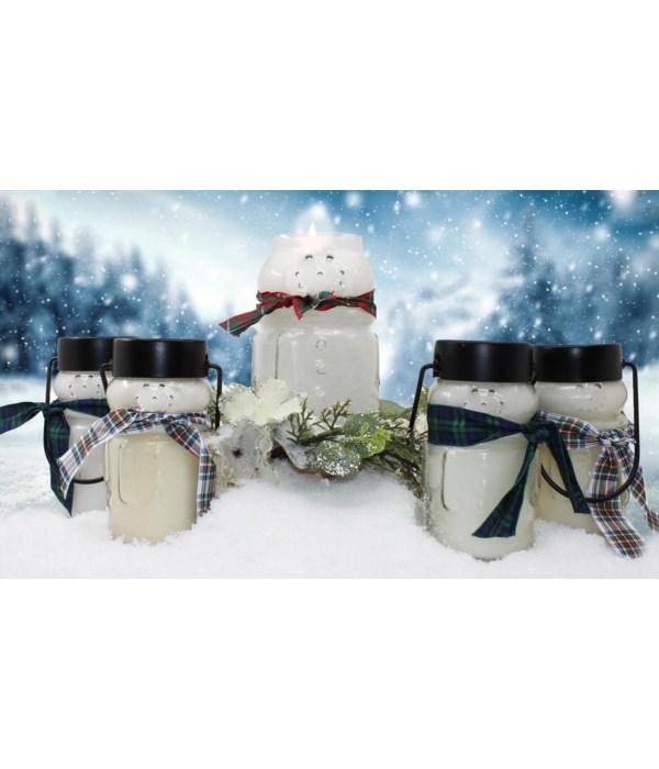 PRE PACK Frosty Snowman Candles 10oz Case Qty 12 Minimum of 2 per fragrance. Burn time 50hr