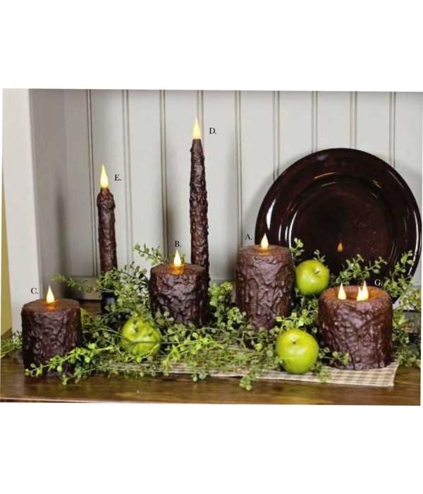 Chocolate Waxed Pillar 3 x 4  in.