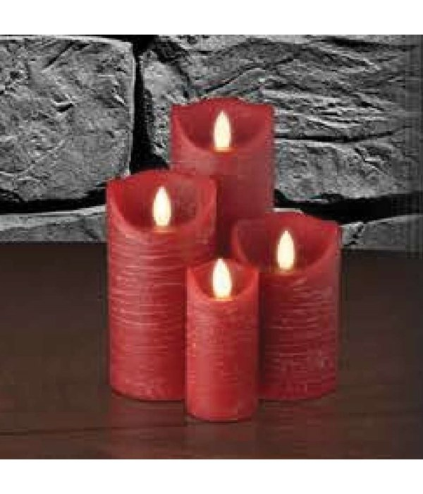 Red Distressed Semblance Candle 3 x 4  in.