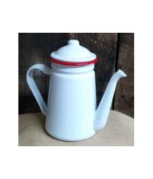 Red Rim Enamel Coffee Pot 7.5 in.