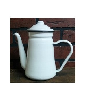 Blk Rim Enamel Coffee Pot 7.5 in.